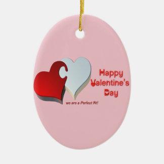 Das Puzzlespiel des Valentinsgrußes Ovales Keramik Ornament