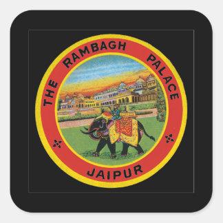 Das Rambagh Palast Jaipur_Vintage Reise-Plakat Quadratischer Aufkleber