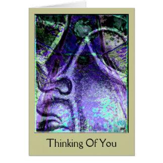 Das Ruhe-blaue Denken an Sie kardieren Grußkarte