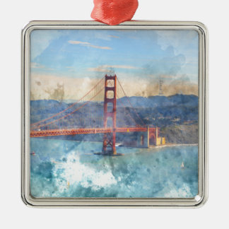 Das San Francisco Golden gate bridge in Silbernes Ornament