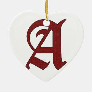Das Scharlachrot Buchstabe- Keramik Herz-Ornament