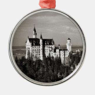 Das Traumschloss von König Ludwig Rundes Silberfarbenes Ornament