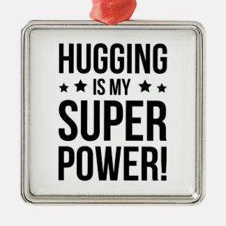 Das Umarmen ist mein SuperPower! Silbernes Ornament
