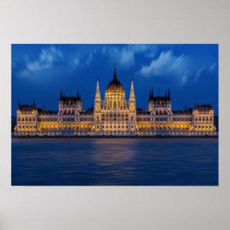 Das ungarische Parlament, Budapest Poster