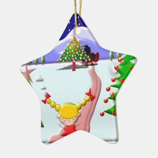 Das Weihnachten des kleinen Mädchens Keramik Ornament