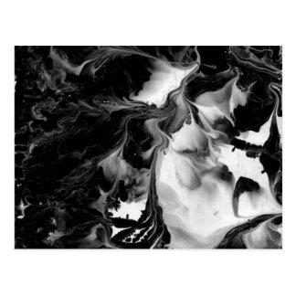DAS YIN u. DER YANG (schwarze u. weiße abstrakte Postkarte