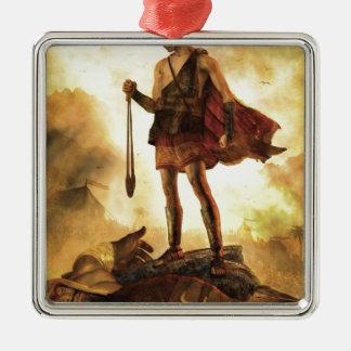 David tötet Goliath Quadratisches Silberfarbenes Ornament