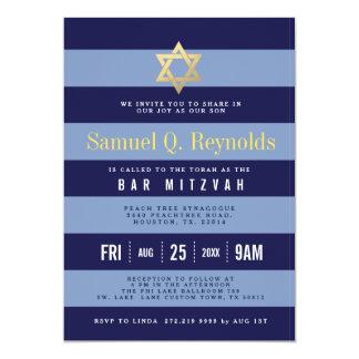 Davidsstern Bar Mitzvah gestreifte Einladungen