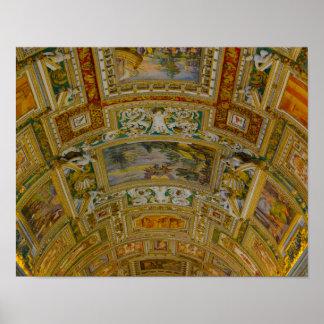 Decke im Vatikan-Museum in Rom Italien Poster