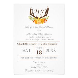 Deer Antler Monogram wedding invitations