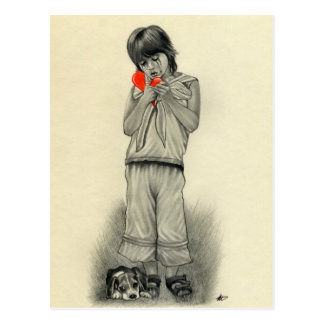 Defektes Herz-Jungen-Welpen-Postkarte Postkarte