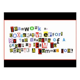 Definition der Teamwork Postkarte