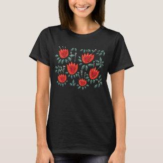 Dekorative abstrakte rote Tulpe-dunkles T-Shirt