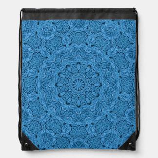Dekorative blaue Vintage Drawstring-Rucksäcke Turnbeutel