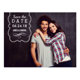 Dekorative Überlagerung des Foto-Save the Date | Postkarte
