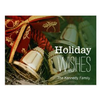 Dekorative Weihnachtsglocken Postkarte