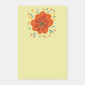Dekorative wunderliche orange Blume Post-it Klebezettel