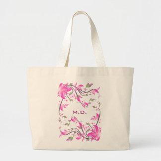 dekorativer Schutz der schönen rosa Blumen - Jumbo Stoffbeutel