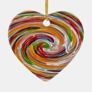 Dekoratives fruchtiges Rotations-Wellen-Muster Keramik Herz-Ornament