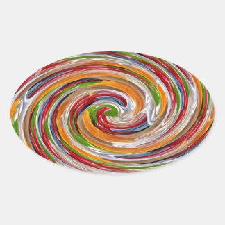 Dekoratives fruchtiges Rotations-Wellen-Muster Ovaler Aufkleber