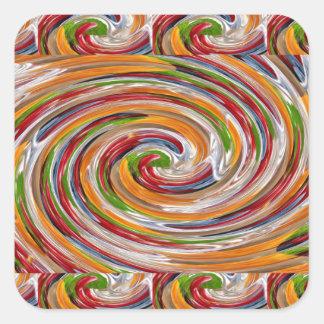 Dekoratives fruchtiges Rotations-Wellen-Muster Quadratischer Aufkleber