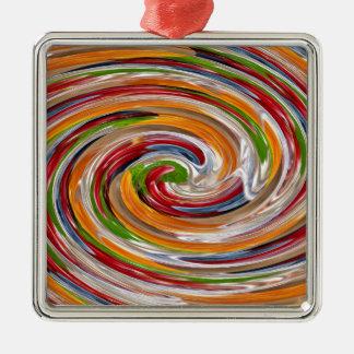 Dekoratives fruchtiges Rotations-Wellen-Muster Quadratisches Silberfarbenes Ornament