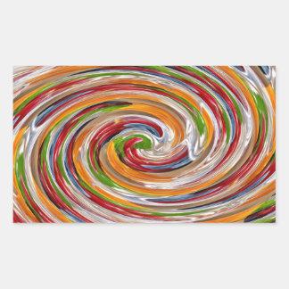 Dekoratives fruchtiges Rotations-Wellen-Muster Rechteckiger Aufkleber