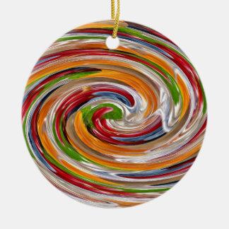 Dekoratives fruchtiges Rotations-Wellen-Muster Rundes Keramik Ornament