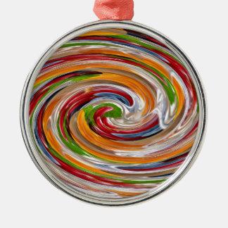 Dekoratives fruchtiges Rotations-Wellen-Muster Rundes Silberfarbenes Ornament