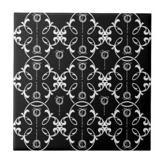 Dekoratives Schwarzweiss-Muster Fliese