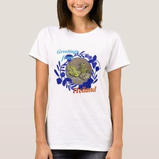 Delftware Muster-Fahrrad-Grüße von Holland T-Shirt