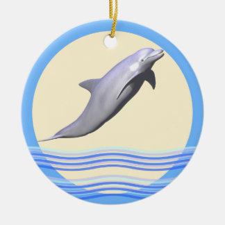 Delphin Sun und Wellen Rundes Keramik Ornament