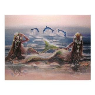Delphine u. Meerjungfrau-Postkarte Postkarten