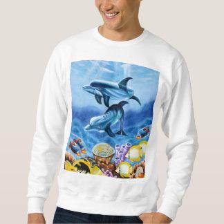 Delphine und tropische Fisch-Kunst Sweatshirt