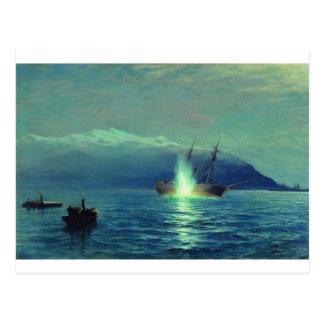 """Den türkischen Dampfer """"Intibach"""" mit den Booten Postkarte"""