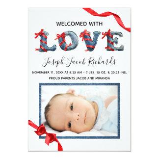 Denim-Liebe - Geburts-Mitteilung Karte