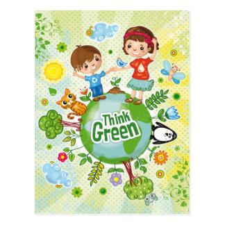 Denke ökologisch-Bewusstseins-glückliches Zitat Postkarten