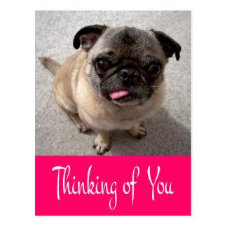 Denken an Sie Mops-Welpen-Hundegruß-Postkarte Postkarte
