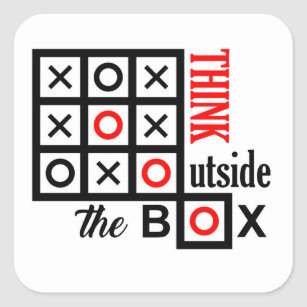 Denken Sie Außerhalb Des Kasten Tic Tac Zehe Quadratischer Aufkleber