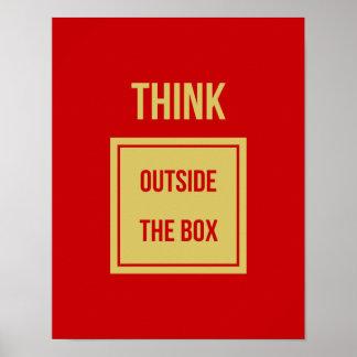 Denken Sie außerhalb des motivierend Kastens Poster