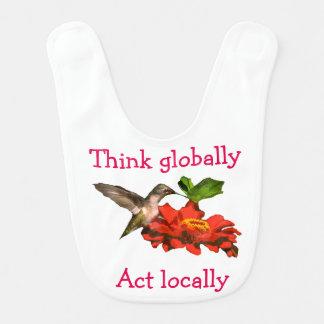 Denken Sie global Taten-am Ort Kolibri-Schellfisch Lätzchen