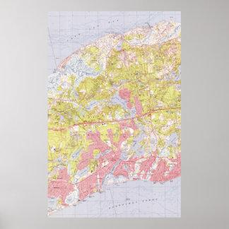 Dennis und Yarmouth Massachusetts Map (1974) Poster