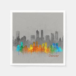Denver Colorado City Watercolor Skyline Farbe Papierservietten