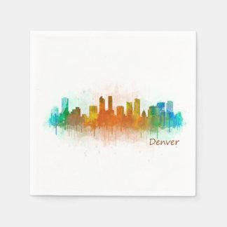 Denver Colorado City Watercolor Skyline Hq v3 Servietten