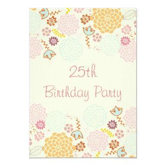Der 25. Geburtstags-extravagantes modernes Blumen 12,7 X 17,8 Cm Einladungskarte