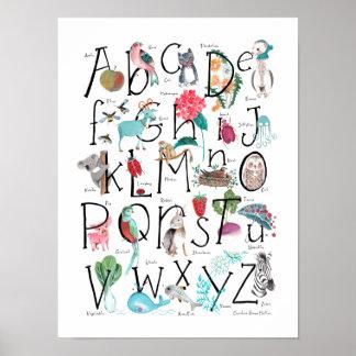 Der ABC-Alphabet-  Plakat Kinderwand-Kunst- 