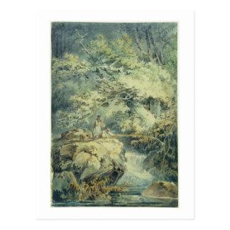 Der Angler, 1794 (w/c über Graphit auf Papier) Postkarte