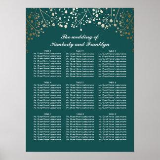 Der Atem-aquamarines Hochzeits-Sitzplatz-Diagramm Poster