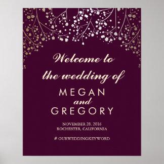 Der Atem-Hochzeits-Willkommensschild-Pflaume des Poster