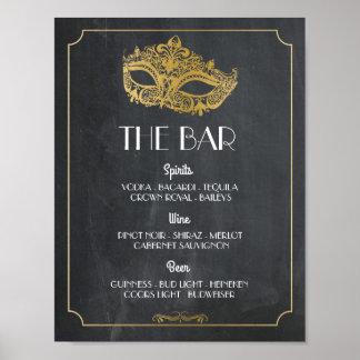 Der Bar-Maskerade-Plakat-Zeichen-Hochzeits-Empfang Poster